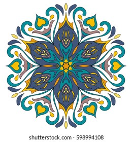 Flower Mandala. Decorative round ornaments. Anti-stress therapy patterns. Weave design. Yoga logos, backgrounds for meditation poster. idea for greeting cards, invitations, prints, textiles, tattoo.
