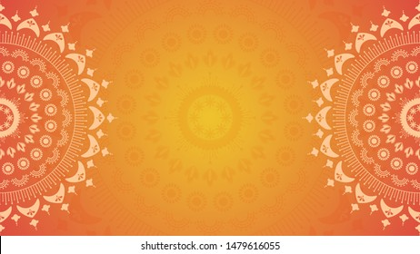 Flower mandala on orange background. Festive folk floral illustration with place for text