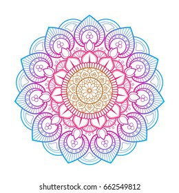 Flower Mandala. Printable package decorative elements. Oriental, mystic, alchemy pattern. Coloring page template. Vector illustration.