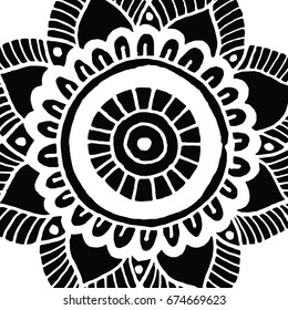 Flower mandala tile in hand drawn style for prints, fabric and ceramic. Vector illustration.