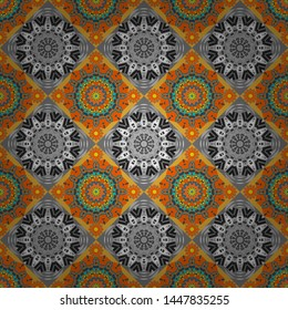 Flower mandala vector colorful background foin orange, blue and gray colors. Seamless pattern for cards, prints, textile, fabric, books covers or wrapping paper.