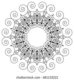 Flower Mandala. Vintage decorative elements. Oriental pattern, vector illustration. Arabic, Indian, mystic motifs. Coloring book page. Decorative round ornaments. Anti-stress therapy patterns.