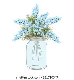 Flower In Mason Jar set