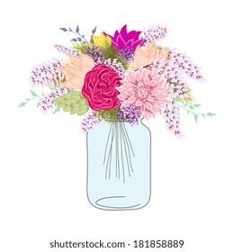 Flower In Mason Jars set
