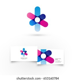 Flower. Modern icon design logo element with business card template. Best for identity and logotypes.