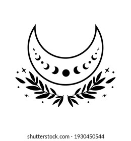 Flower moon phase symbol. Beauty black moon tattoo design. Celestial crescent isolated Astrology girl crescent.