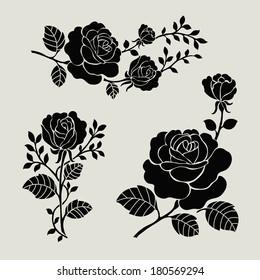 Flower motif set. Vintage rose collection with floral elements