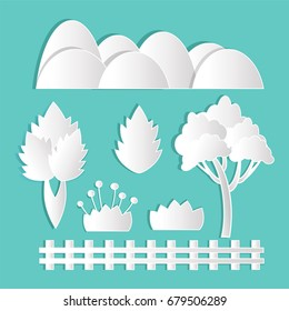 Flower nature Tree mountains fence wood field grass garden paper cute designs on White I con Ornament elements beautiful vector