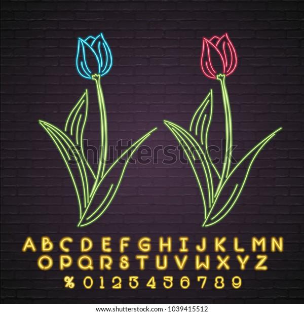 Flower Neon Light Glowing Tulip Symbol Illustration Vector Graphic and Alphabet Set Yellow Light Glowing