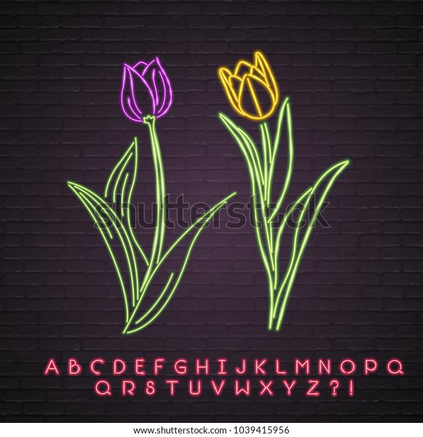 Flower Neon Light Glowing Tulip Symbol Purple and Yellow Light Vector Graphic and Alphabet Set Red Light Graphic
