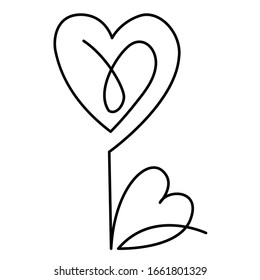 flower in the one line art for greeting cards, design of cosmetic packaging, prints, thematic design