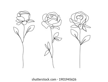 Flower One Line Drawing. Continuous Line of Simple Flower Illustration. Abstract Contemporary Botanical Design Template for Minimalist Covers, t-Shirt Print, Postcard, Banner etc. Vector EPS 10.