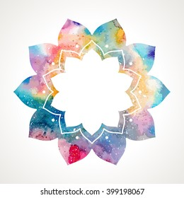 Flower oriental frame. Watercolor texture. Indian asian style. Frame edited in vector