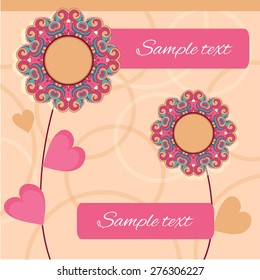 Flower ornament. Can be used for banner, cards, invitations etc. With space for text
