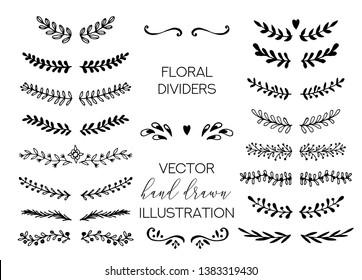 Flower Ornament Dividers. Hand drawn decoration, floral ornamental divider and sketch leaves ornaments. Doodle leaves and flourish divider set. Vector Illustration.