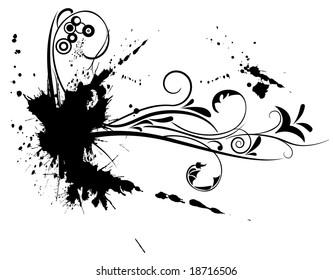 flower ornament vector design with grunge splash elements