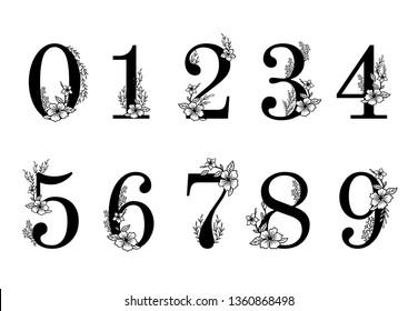 Flower ornate numbers. Elegant blossom number, floral sprigs date and numeric monogram. Leaf filigree ornamental numbers character. Vector illustration isolated symbols set