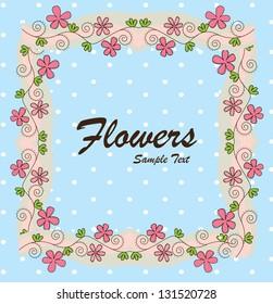 Flower over white and blue background vector illustration
