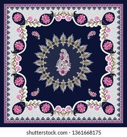 flower and paisley bandanna pattern