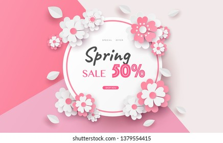 flower paper cut in vector art design with realistic shadows in pastel color tone . Frame or space for add the text label used for a magazine, web, signboard in shopping mall and the other.