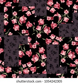 Flower patchwork pattern  I worked in vectors This painting continues repeatedly seamlessly