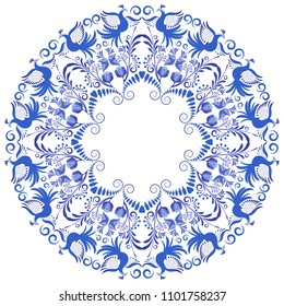 Flower pattern with blue birds and flowers in a circle. Template design in ethnic style Gzhel porcelain painting. Vector illustration
