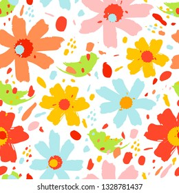 Flower pattern with flowers. Hand drawn vector illustration, perfect for creating fabrics, greeting cards, wrapping paper, packaging.