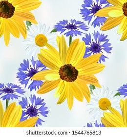 Flower pattern, flowers of sunflower,  chamomile, blue cornflower on light blue abstract background, seamless texture, vector.