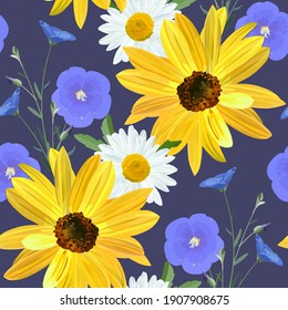 Flower pattern, flowers of sunflower,  chamomile, flax, flowers and blossoms linen close up on dark blue background in a random arrangement square format, seamless texture, EPS 10 vector.