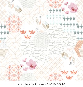 Flower pattern with geometry background vector. Japanese traditional template. Cherry blossom icons vector.