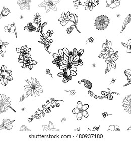 Flower Pattern. Hand Drawn Floral doodles. Ideal Quality Itemized Sketch for your design. Flowery Seamless Background. Florish nature elements. Decorates Floret Botanic Sketching. Vector illustration.