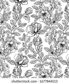 Flower pattern, hand drawn tulips, leaf,  branches and foliage. Vector artwork background in line-art style. can be used for wallpaper, pattern fills, web page background, surface textures.