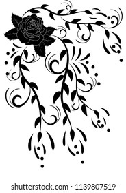 flower pattern leaves curls decoration tattoo pattern vector