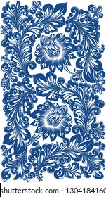 Flower pattern. Ornament for fabric, wallpaper, packaging.Hohloma.Russian traditional  design