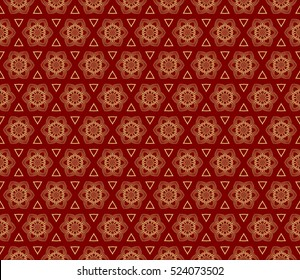 flower pattern. Seamless. Arabesque. vector illustration. red, gold color. for invitation, background, wallpaper