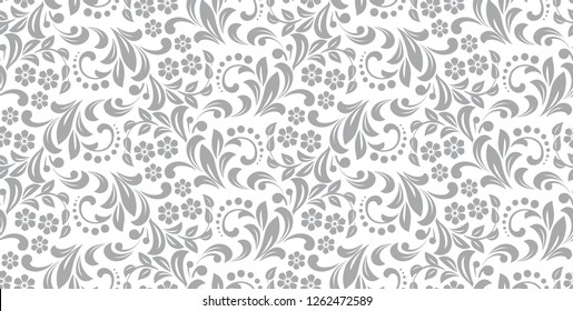 Flower pattern. Seamless white and gray ornament. Graphic vector background. Ornament for fabric, wallpaper, packaging.