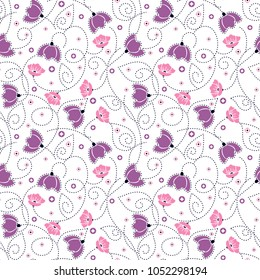 flower pattern with swirl dashed line for textile pattern,fashion print,fabric