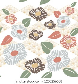 Flower pattern vector. Japanese background template.