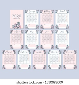 Flower Peach Pink Calendar 2020  Card