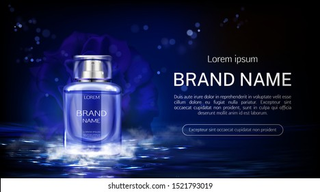 Flower perfume bottle on night water surface background with fog. Glass flask packaging design mock up. Floral scent fragrance cosmetic beauty product, promo ad banner Realistic 3d vector illustration