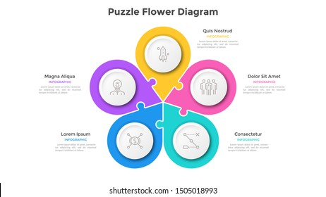 Flower petal chart with 5 colorful connected jigsaw puzzle pieces. Concept of five elements of business project. Flat infographic design template. Simple vector illustration for presentation, banner.