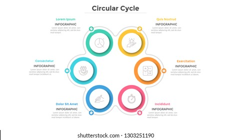 Flower petal diagram with 6 paper white round elements. Cyclical process with six steps. Simple infographic design template. Flat vector illustration for business project presentation, report.