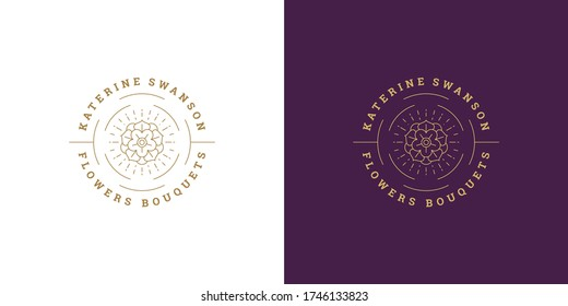 Flower petal line and branch with leaves vector logo emblem design template illustration simple minimal linear style. Outline graphics for cosmetic product packaging and garden flowers shop