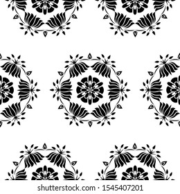 Flower petals, Lamps and Lotus flowers - Indian Traditional and Cultural Rangoli Alpona Kolam or Paisley vector line art is in Seamless pattern