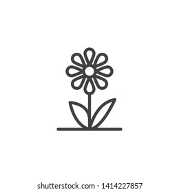 Flower petals line icon. linear style sign for mobile concept and web design. Chamomile flower outline vector icon. Symbol, logo illustration. Vector graphics