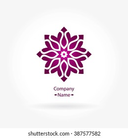 Flower pink logo in the form of decorative roses for boutique, flower shop, business, interior. Company mark, emblem. Simple geometric mandala logotype. Kaleidoscope big bud. Surround abstract blossom