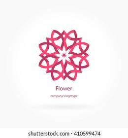 Flower pink logotype for beauty, Spa salon, boutique, flower shop, business. Company mark, emblem, element. Simple geometric mandala logo. Kaleidoscope big bud. Surround abstract blossom.