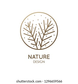 Flower plant logo. Vector abstract emblem of flower bush, herb. Simple minimal badge for design of natural products, flower shop, cosmetics and ecology concepts, health, spa and yoga Center.
