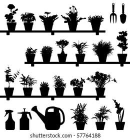Flower Plant Pot Silhouette Vector