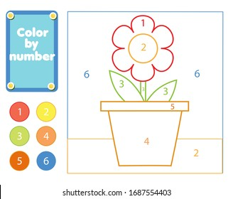 Flower in pot. color by numbers educational game for elementary level kids, toddlers. coloring page for pre school children.